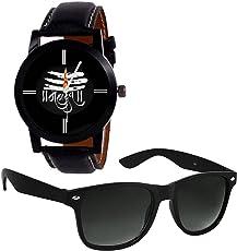 just like Combo of Stylish Wayfarer Boy's Sunglasses and Mahadev Watch (Black)