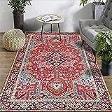 Fancytan - Grand Tapis Oriental Persan Rouge pour Salon Chambre à Coucher, Tissu,...