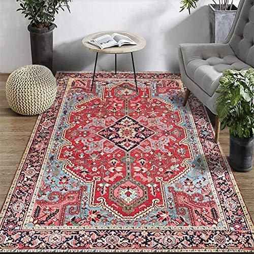Fancytan - Alfombra Persa Oriental, Color Rojo, Alfombra Grande para salón o Dormitorio, Tela, Rojo...