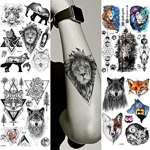 MRKAL Mode Dreieck Afrika Lion Black Benutzerdefinierte Temporäre Tattoos Aufkleber Gefälschte Wasserdichte Körper Arm Tattoo Hände Malerei Wolf Tatoos 21X15 cm