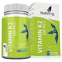 NutriZing K2 vitamine ~ haute résistance 600 mcg ~ 90 Vegetarian Capsules ~ Premium vitamine K pour des hommes et des femmes ~ Vitamin K à base de natto fermenté ~ sans gluten ~ MK7 ménaquinone