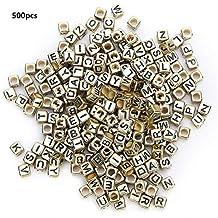 500 stks acryl kralen vierkante diy handgemaakte kralen accessoires kralen kit, brief kralen, groot gat kralen multi kleur engels alfabet 6mm(gouden)