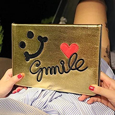 (Sleeping Bear) Apple iPad 5/AIR Coque/étui, Multi-couleur, Broderie sourire? souriant visage style de mode PU Cuir Stand Flip Case Cover/Tablet Coque--Or