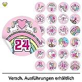 cute-head 24 Adventskalender-Zahlen (Aufkleber Etiketten Sticker) | Einhorn/Unicorn | Rund | M » Ø 40 mm | Rosa | F00107-01