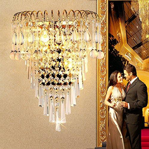 Firsthgus E27 Applique Murale en cristal Salon Lampe de salon en or Salle de séjour en or Chambre à coucher Led Lampe de chevet (4Af3)
