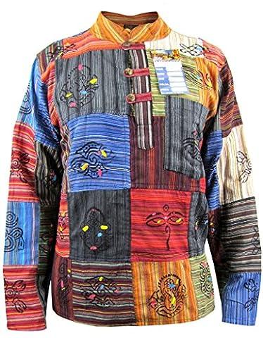 Little Kathmandu Men's Patchwork Hippie Grandad Printed Symbols Casual Shirt Non Stonewashed Medium