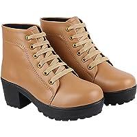 Shoetopia Womens/Girls Platform Heeled Classic Solid Boots