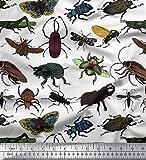 Soimoi Weiß Seide Stoff Käfer, Schmetterling & Honigbiene