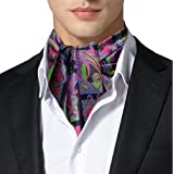 Remo Sartori - Ascot Doppia Pala in Seta Fantasia Damascata Multicolore, Made in Italy, Uomo