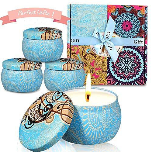 ESOLOM Duftkerzen, Citronella Kerzen 4 Stück Mückenschutzkerzen Zitronengraskerzen, Geschenkset für drinnen und draußen Geburtstagsbad Yoga Valentinstag (blau) -