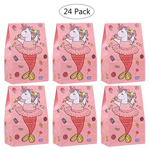 TOYMYTOY Einhorn Party Taschen Papier Geschenktüten Kinder Geburtstag Taschen Popcorn Boxen Candy Container Unicorn Party Favors (24PCS Rosa)