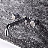 SADASD Modernes Badezimmer Waschbecken Wasserhahn Kupfer Wandmontage Verdeckte Doppel Waschbecken Waschbecken Armaturen Keramik Ventil heiße und Kalte Mixer mit G 1/2 Schlauch Tippen