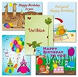 10 Postkarten - Set Eulen - Erdmännchen - Schnecken - Marienkäfer - Geburtstagskarten 1111+17+34+53+71