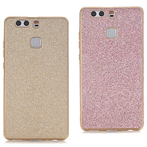 Preisvergleich Produktbild Pheant® [2in 1] Huawei P9 Glitzer Hülle Silikon Schutzhülle Gold und Rose Gold