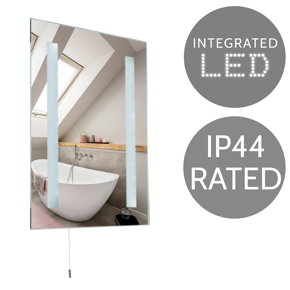Saxby Toba Battery Operated Led Illuminated Bathroom Mirror No Ip44 Plug Wiring Diagram Modern Integrated Illuminating