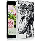 Nokia Lumia 535 Funda - Lanveni Chic Elegante Carcasa rígida ultrafina para Microsoft Lumia 535 Transparente Hard Case - Patrón Elefante Tribal Diseño