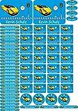 INDIGOS UG Namensaufkleber/Sticker - A4-Bogen - 007 - hot rod Auto - 69 Sticker für Kinder, Schule und Kindergarten - Stifte, Federmappe, Lineale - auch für Erwachsene - individueller Aufdruck