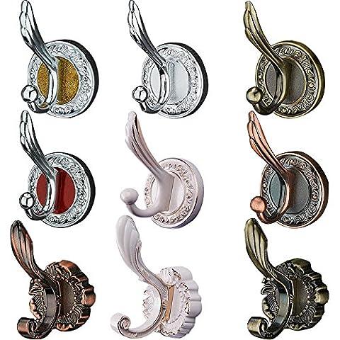CHENXI Shop Mantel und Hut Haken mit rundem Fuß, Satin Nickel Wandbehang Colorful Doppelhaken Nachahmung Kleidung Haken 6802