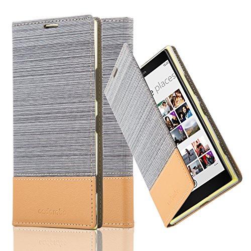 Cadorabo Hülle für Nokia Lumia 1520 - Hülle in HELL GRAU BRAUN – Handyhülle mit Standfunktion und Kartenfach im Stoff Design - Case Cover Schutzhülle Etui Tasche Book