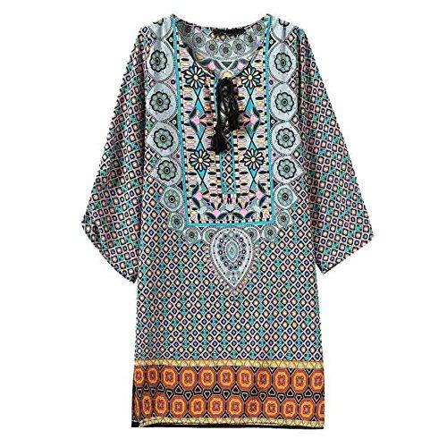 Tonsee® Femmes Manches 3/4 Totem Fleur Vintage Pattern Imprimer Robe d'été en vrac Bleu