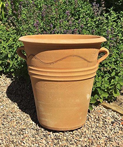 Kreta Keramik frostfester handgefertigter Terracotta Pflanztopf,für Terasse Balkon Außenbereich und Dekoration Salvia 34 cm