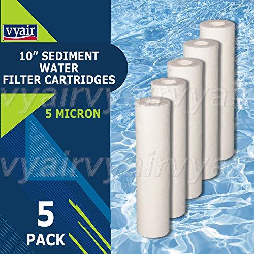 5x Vyair RO 25,4cm PP 5Mikron Melt Blown Partikeln/Sediment/Umkehrosmose Wasserfilter Kartusche zu entfernen Sand, Silt, Schmutz und Rost Partikel (Sediment Schmutz Patrone Rost)