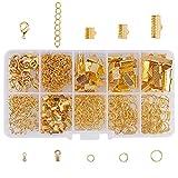 PandaHall Circa 445pcs/kit per gioielli 6 tipi di beni con anelli aperti chiusura aragosta cadena corta per braccialetti Crimp Ends Ribbon Ends accessori componenti di bigiotteria