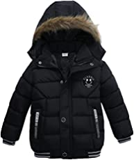 Usstore Fashion Kids Coat Boys Girls Thick Coat Padded Winter Jacket Clothes ,Black Pile and Thicken