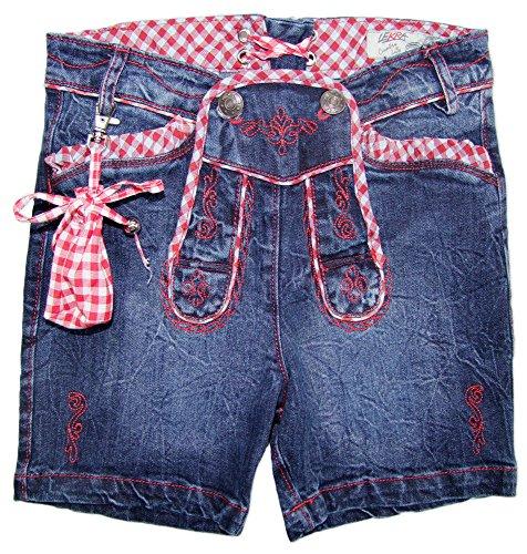 7bb3a8713907 Kurze Jeans Annalena in Lederhosen Optik Jeansblau Rot für Mädchen Gr. 146
