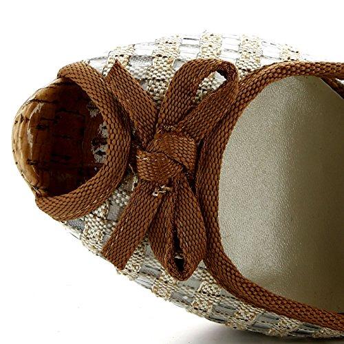 Cafènoir - Scarpe donna decolletè spuntate e tacco alto plateau Beige