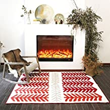 Nordic Red Branches Fireplace Short-Pile Rug, 10mm Height, Christmas Mats Anti-Slip Carpet Stripes in Red and White, Living Room Bedroom Bedside Foyer Carpet, 2 Sizes Available (Size : 140cm×200cm)