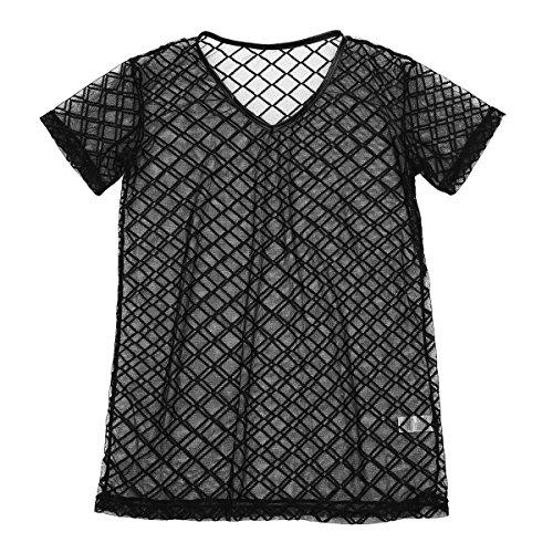 Freebily Herren Netzhemd Männer Netz Hemd shirt kurzarm Oberhemds Unterhemd Wetlook Top fit Clubwear Underwear aus Mesh Schwarz-A