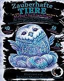 ANTI-STRESS Malbuch für Erwachsene Nacht-Edition: Zauberhafte Tiere (Mandalas zum Aus-malen für Achtsamkeit, Zen Meditation und Entspannung mit schwarzen Seiten - schwarzer Hintergrund)