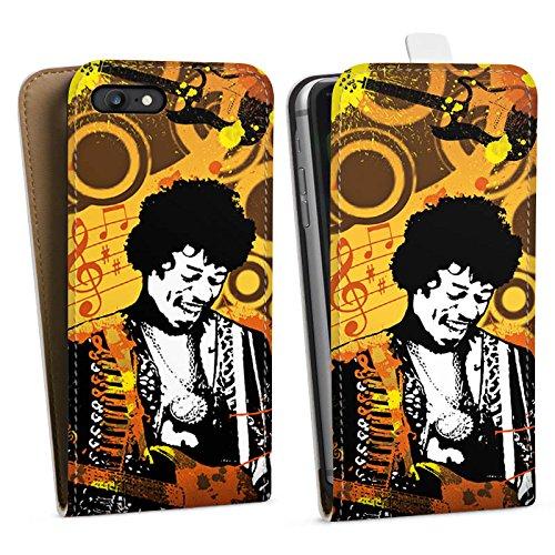 Apple iPhone X Silikon Hülle Case Schutzhülle Musik Jimi Hendrix Gitarre Downflip Tasche weiß