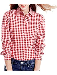 02a348e135 C.Cozami Women s Casual Checkered Red Black Maroon Blue White Shirt