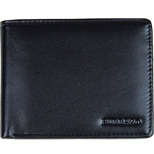 BULLAZO Herren Echtleder Geldbörse Geldbeutel FINO DISCRETA in schwarz. Portemonnaie Brieftasche ohne Münzfach für Männer viele Kartenfächer weiches Leder klein slim flach. Edles schmales Etui.