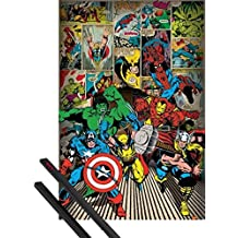 1art1® Póster + Soporte: Marvel Comics Póster (91x61 cm) Superhéroes Y 1 Lote De 2 Varillas Negras