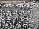 Gardinen Borte 32cm hoch mit Muster in weiß Hochglanzgarn