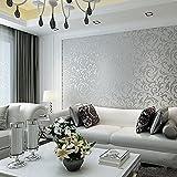 Hanmero Europeo 3D diseño Papel Pintado Pared Rayas de Plantas No-tejido Papel de pared pintado, Color gris plateado, 0.53M*10M