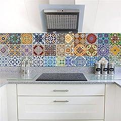Idea Regalo - Piastrelle Adesivi Backsplash, fai da te impermeabile Sbucciare e Stick per la casa Talavera scala Decal scale murali Stickers per Scale Bagno Cucina, 18 centimetri x 100cm x 6PCS
