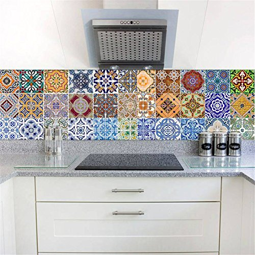 Tile Stickers Backsplash, DIY Creative Traditional Tile Decals for Stairs Bathroom Kitchen, Waterproof Peel and Stick Home Decor StairCase Mural, 18 x 100cm x 6 Pcs