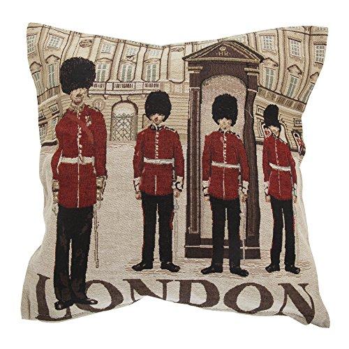 Textiles Universels Housse de Coussin à Motif Londres et gardes de la Reine (Coussin Non Inclus) (43cm x 43cm) (Beige/Rouge/Noir)