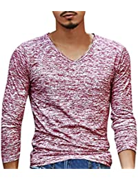 Beauty Top Mens Pullover Tops Shirts Sólido V-cuello De Manga Larga Camiseta Blusa Delgada