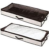 mDesign rangement sous lit (lot de 2) – boite de rangement avec couvercle transparent pour vêtements, literie, chaussures – t