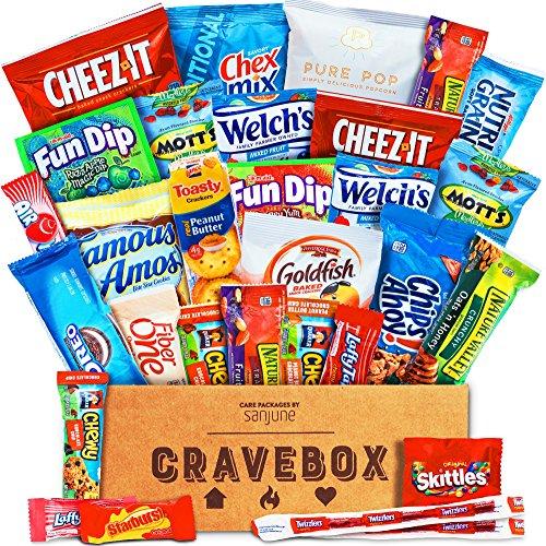 CraveBox Snackpaket mit verschiedenen Chips und Müsliriegeln und Popcorn (Packung à 30 Stück)