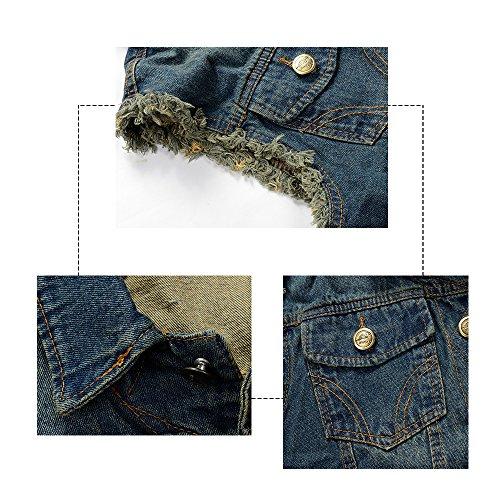 YOUTHUP Herren Jeans Denim Weste fashion Jeans Casual Weste Dunkel Blau