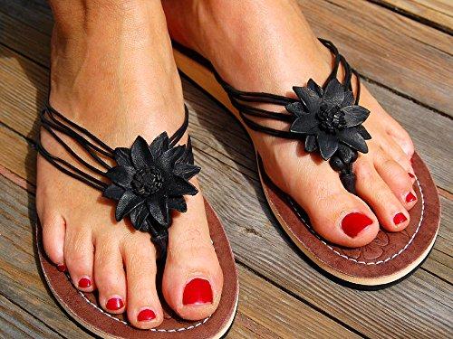 SEESTERN Damen Leder Zehentrenner Zehensandale Zehensteg Sandalen in Größe 36-41 Schwarztöne