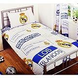 Real Madrid CF Kinder Bettwäsche mit Design (Einzelbett) (Weiß/Blau/Gelb)