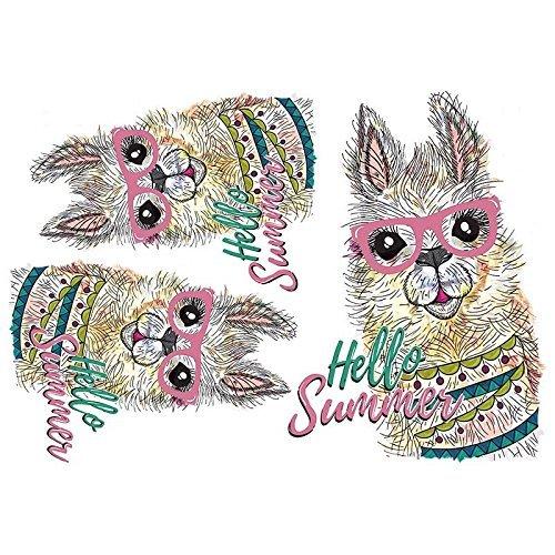 Unbekannt Color Bügeltransfer, Din A4, Lama-Serie   Textilien Wie T-Shirts & Taschen mit Bügelmotiven verzieren   Bügel-Bilder Schnell & Einfach aufbügeln   DIY Textildesign - Lama Hello Sunshine