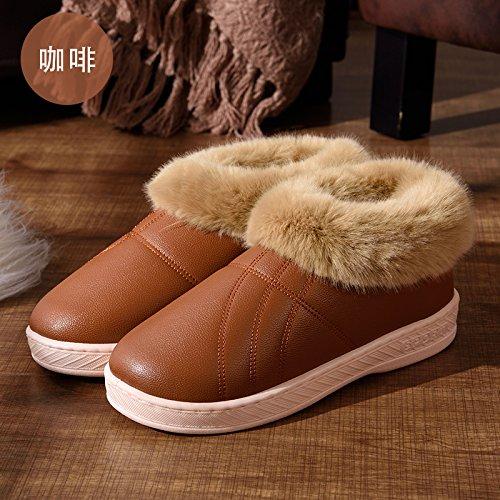 DogHaccd pantofole,Autunno Inverno uomini e donne paio di pantofole di cotone di spessore a caldo con anti-skid pacchetto di soggiorno in un lussuoso scarpe di cotone Il caffè1